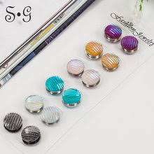 12pcs dozen mix color classic round solid magnet brooch hijab accessories muslim magnetic pin scarf buckle