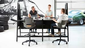 bivi modular desk system in black finish with 4 desks arch accessory with upper and bivi modular office furniture