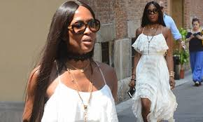 <b>Naomi Campbell</b> looks chic in white dress in Milan | Daily Mail Online