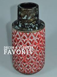 <b>Ваза</b> керамическая интерьерная Арабика, <b>30 см</b>, <b>красный</b>, W24-7 ...