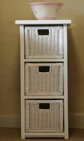 white storage unit wicker:   drawer cane bathroom unit