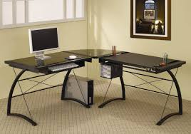 black glass top metal base modern home office desk black glass office desk
