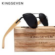 Original KINGSEVEN Brand Bamboo Cat Eye Sunglasses Polarized ...
