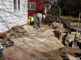 stone patio installation: low maintenance front yard chilton stone patio installation