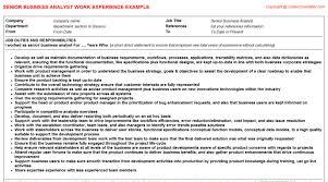 business analyst cv work experiencesenior business analyst cv work experience