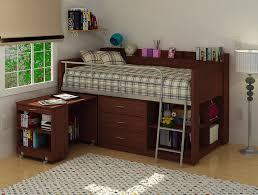 dark brown finished wood loft bed idea with built in desk drawer system bookshelf and metal bed desk set