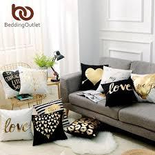 <b>BeddingOutlet Bronzing Christmas Cushion</b> Cover Gold Printed ...