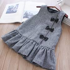 Sleeves Medium Thick Cotton Houndstooth Dress For 12-24 Months ...