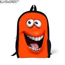 <b>ELVISWORDS</b> Funny 3D Emoji Face Printing Schoolbag for ...