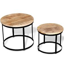 Festnight <b>2 Pcs</b> Round <b>Side</b> End <b>Table</b> Cof- Buy Online in Gibraltar ...