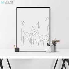 <b>Modern Minimalist</b> Animal Shape Giraffe Canvas A4 Art Print Poster ...