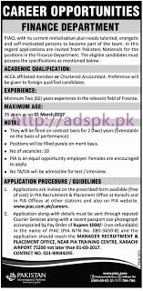 new career jobs pia finance department karachi jobs for new career jobs pia finance department karachi jobs for acca chartered accountant application deadline 01