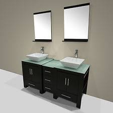 bathroom place vanity contemporary: modern quot double ceramic sink bathroom vanity cabinet wood top w mirror black