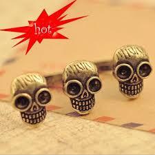 <b>Hot</b> 2 Double Bronze Three Skull Ring Punk Rock Rings Vintage ...