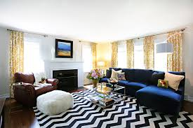 blue sectional sofa living room transitional with black and white chevron blue dark trendy living room