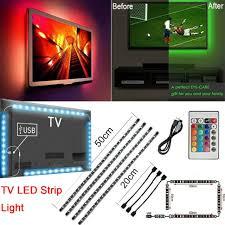 <b>USB</b> Powered <b>5V RGB LED</b> Strip Light Remote Control For Bar TV ...