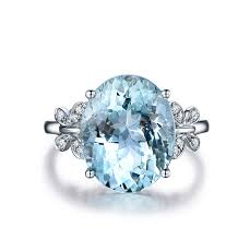 2019 <b>AINUOSHI</b> Luxury 6ct Big <b>Oval</b> Topaz Ring 925 Sterling Silver ...