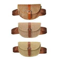 <b>Women Straw Waist Belt</b> Chest Bag Fanny Pack Summer Beach ...