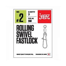 <b>Вертлюги</b> с застежкой <b>Lucky John Pro</b> Series Rolling Swivel Fastlock