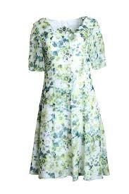 <b>Dress</b>,flower, pure <b>silk</b>, <b>floral print</b>, marigreen-white – Liz Malraux ...