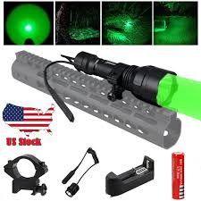 502B <b>Q5</b> Green <b>LED</b> Flashlight <b>Light</b> Up To 200 Yards For Hog ...