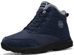 Weweya <b>Men's Snow Boots</b> Waterproof Fur Lined Booties Anti-Slip ...
