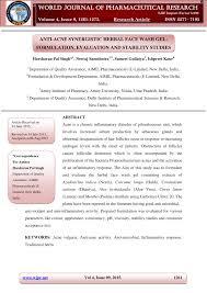 (PDF) <b>Anti</b>-<b>acne</b> Synergistic <b>Herbal Face</b> Wash Gel: Formulation ...