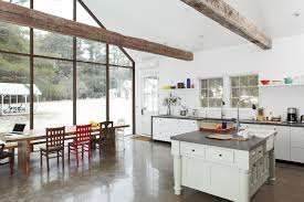 Concrete Floor Kitchen Decor Tips Floor To Ceiling Windows And Trestle Table With