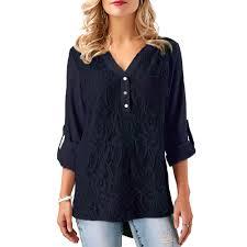 <b>Embroidery Chiffon</b> Blouse Shirt Women Lace Tops <b>Plus Size</b> XXXL ...