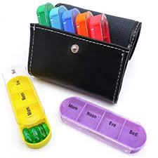 PuTwo <b>Pill Box 7</b> Days 28 Compartments Leather <b>Pill</b> Case Wallet ...