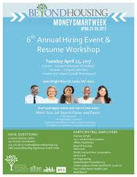 moneysmartweek hashtag on twitter come out to the 6th annual hiring event resume workshop beyondhousing 8 30a 1p tues 4 25 see flier for info moneysmartweek pic twitter com krcgat7nr4