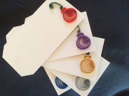 Set of 5 Quilled Christmas Ornament Gift Tags   Quilling christmas ...