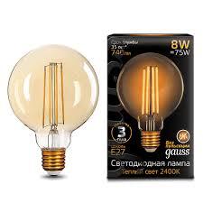 <b>105802008 Лампа Gauss</b> LED <b>Filament</b> G95 E27 8W Golden 2400К