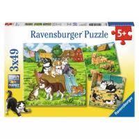 Набор <b>пазлов Ravensburger</b> Котята и щенки 3 в 1 (08002) в ...