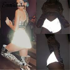 hot womens luminous reflective booty shorts club party dance costume wear night light shiny elastic waist sexy