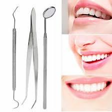 <b>3 Pcs Dental</b> Examination Basic Hygiene Tweezer Mirror Explorer ...