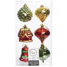 <b>Набор</b> елочных игрушек Новогодний Микс 6 см, 6 шт, подвеска ...