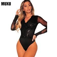 2019 <b>MUXU Black</b> Sequin Glitter Bodysuit <b>Jumpsuit</b> Macacao ...
