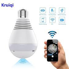 Online Shop <b>Kruiqi</b> Wifi <b>IP Camera</b> 1080P Bulb led Light 360 degree ...