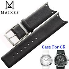 <b>MAIKES High</b> Quality Genuine Leather Watch Band Black White ...
