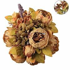 China Luyue Vintage <b>Artificial Peony Silk Flowers Bouquet</b>, Coffee ...