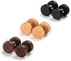 Wood - Earrings / Men: Jewellery - Amazon.co.uk