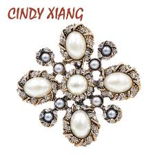 <b>CINDY XIANG</b> New Arrival Simulated pearl Cross Brooches for ...