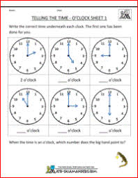 Telling Time Worksheets - O'clock and Half past1st grade math worksheets telling the time oclock 1