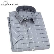 2019 <b>Unisplendor Summer Men Short</b> Sleeve Shirts Plaid Striped ...