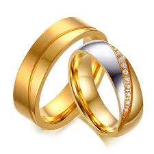 <b>Luxury Gold</b> Color Titanium Steel Engagement <b>Wedding Rings</b> ...