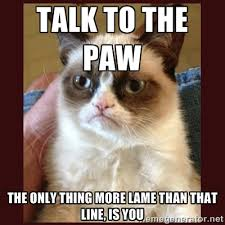 talk to the paw the only thing more lame than that line, is you ... via Relatably.com