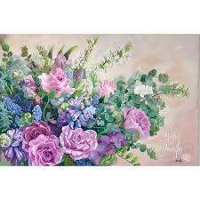 Serendipity- Bouquet <b>Flower</b> Painting- blue & <b>pink</b>- original oil on ca ...