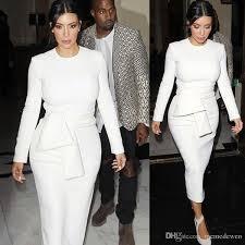 <b>Spring</b> Autumn <b>Women</b> Elegant Dress Kim Kardashian <b>Solid White</b> ...