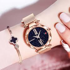 <b>Luxury Starry Sky Watch</b> Rose Gold Women Watch Black Magnet ...